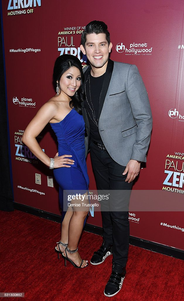 Singer Jasmine Trias and singer Ben Stone arrive at the opening of his new show Paul Zerdin: Mouthing Off at Planet Hollywood Resort & Casino on May 13, 2016 in Las Vegas, Nevada.