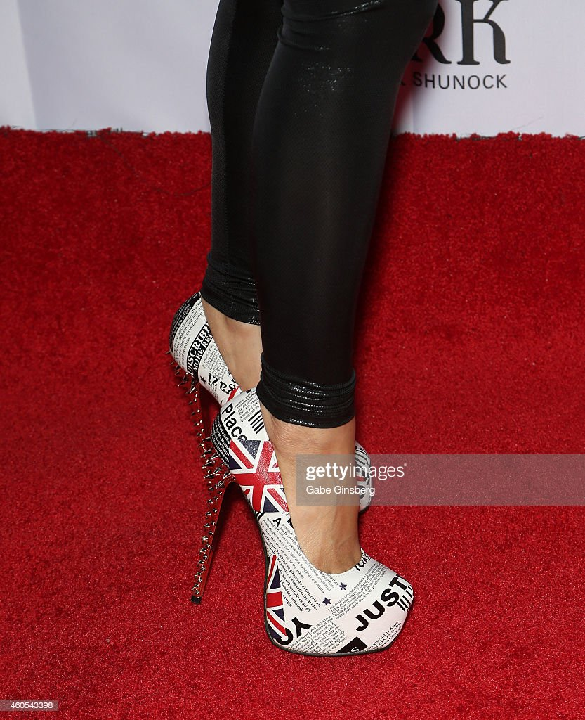 Singer Jasmine Trias (shoes detail) arrives at Mondays Dark anniversary bash at The Joint inside the Hard Rock Hotel & Casino on December 15, 2014 in Las Vegas, Nevada.