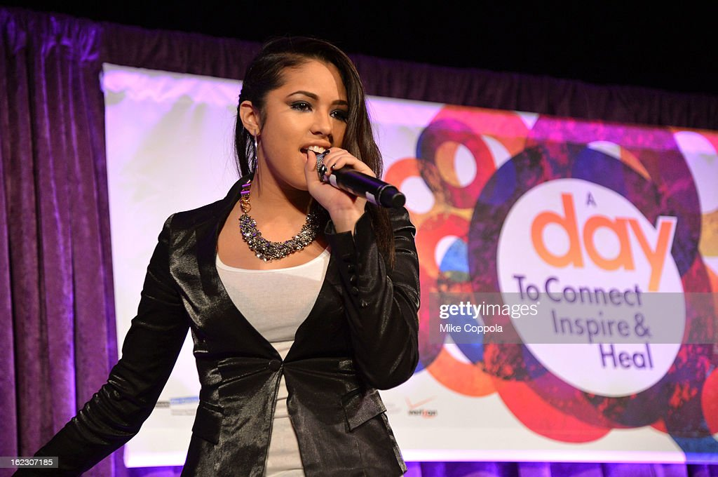 Singer <a gi-track='captionPersonalityLinkClicked' href=/galleries/search?phrase=Jasmine+Villegas&family=editorial&specificpeople=4438076 ng-click='$event.stopPropagation()'>Jasmine Villegas</a> attends the A Day To Connect, Inspire And Heal Summit on February 21, 2013 in New York City.