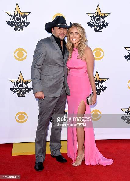 Singer Jason Aldean and Brittany Kerr attend the 50th Academy of Country Music Awards at ATT Stadium on April 19 2015 in Arlington Texas