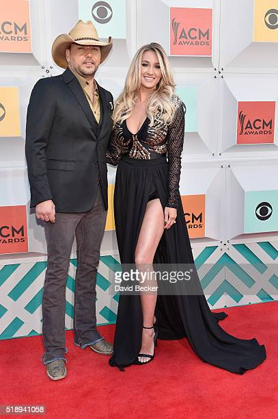 Singer Jason Aldean and Brittany Kerr attend the 51st Academy of Country Music Awards at MGM Grand Garden Arena on April 3 2016 in Las Vegas Nevada