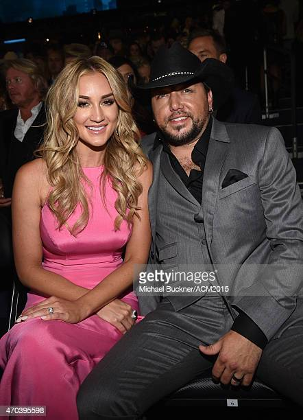 Singer Jason Aldean and Brittany Kerr attends the 50th Academy Of Country Music Awards at ATT Stadium on April 19 2015 in Arlington Texas