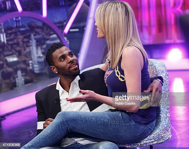 Singer Jason Derulo and Ana Anna Simon attend 'El Hormiguero' Tv Show at Vertice Studio on May 21 2015 in Madrid Spain