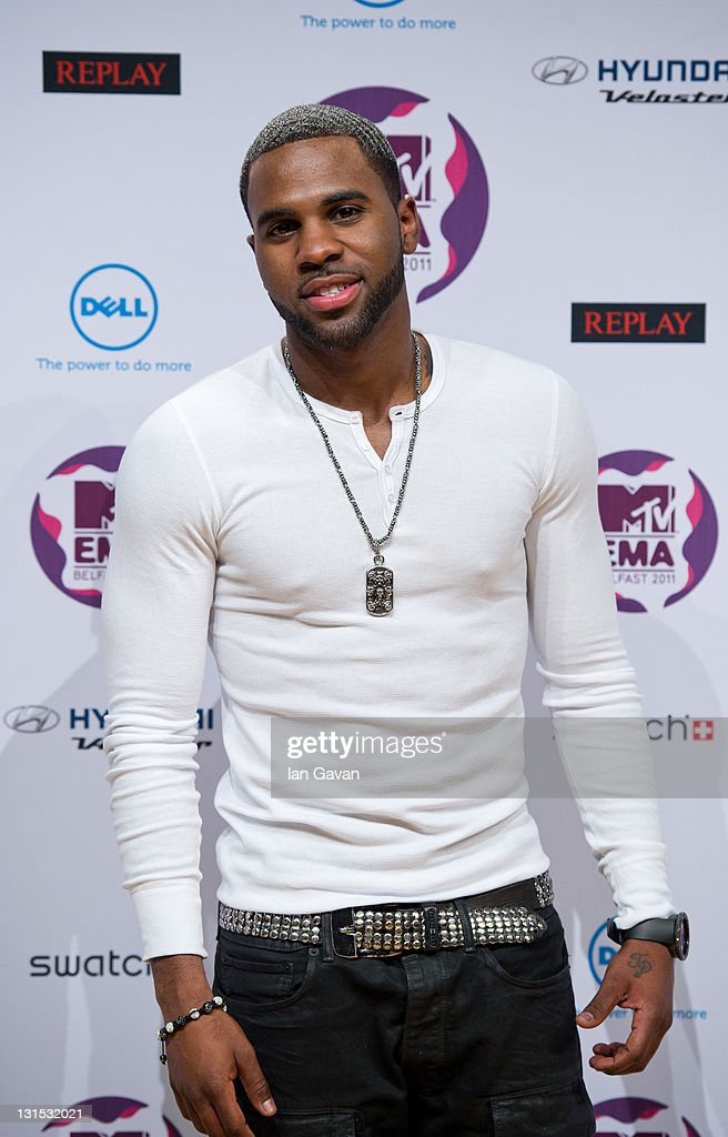 Singer <a gi-track='captionPersonalityLinkClicked' href=/galleries/search?phrase=Jason+Derulo&family=editorial&specificpeople=5745869 ng-click='$event.stopPropagation()'>Jason Derulo</a> attends a MTV Europe Music Awards 2011 press conference at Odyssey Arena on November 5, 2011 in Belfast, Northern Ireland.