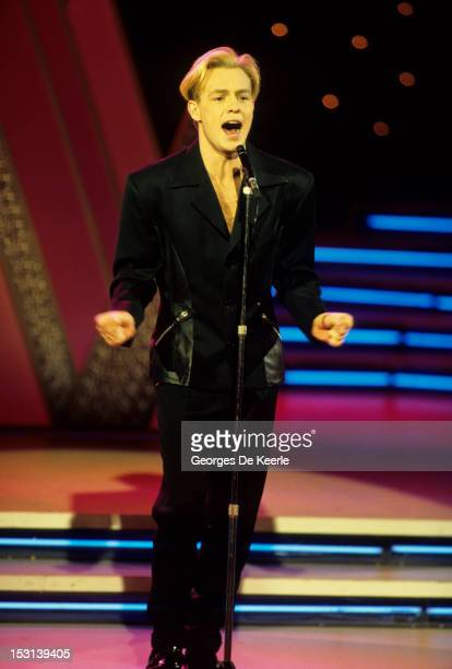 Singer Jason Donovan performs at the Miss World Competiotion at the Pallaldium in London on November 8 1990