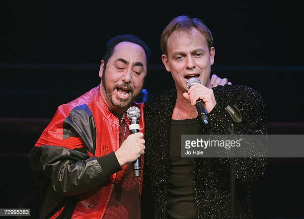 Singer Jason Donovan performs on stage with his guest Producer David Gest at GAY at the Astoria on January 13 2007 in London England