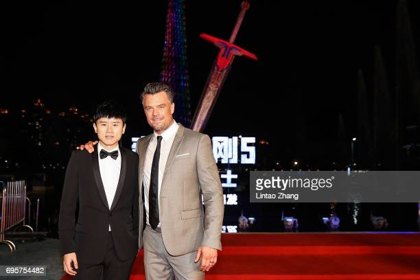 Singer Jason Zhang and Actor Josh Duhamel attend the 'Transformers The Last Knight' China World Premiere and Ten Year Anniversary Celebration at...