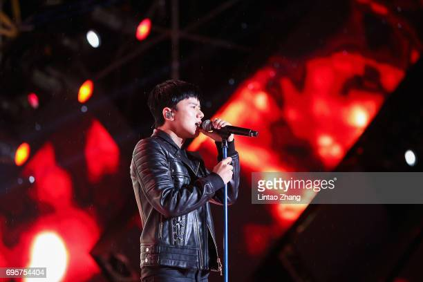 Singer Jason Zhang performs during the 'Transformers The Last Knight' China World Premiere and Ten Year Anniversary Celebration at Haixinsha Asian...