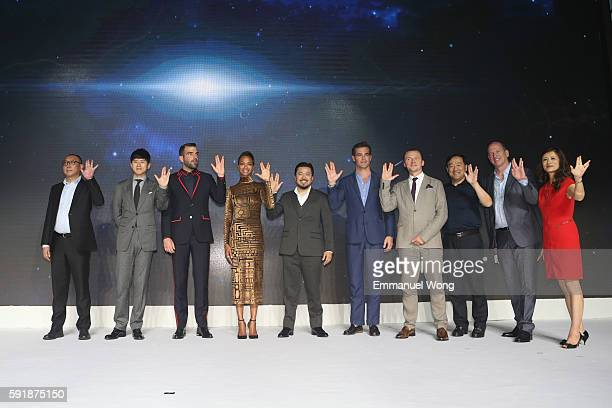 Singer Jason Zhang Zachary Quinto Zoe saldana DIrector Justin Lin Chris Pine Simon Pegg Rob Moore attend the press conference of the Paramount...