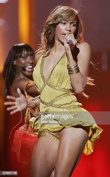 Singer Javine of the United Kingdom performs at the Eurovision Song Contest Grand Final at Palace Of Sports on May 21 2005 in Kiev Ukraine This year...