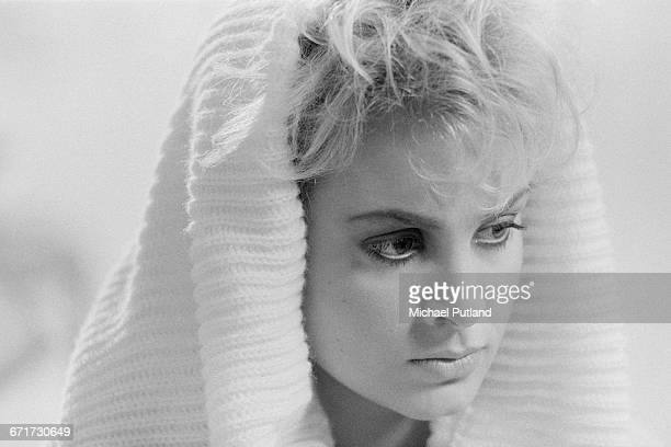 Singer Jay Aston of British pop group Bucks Fizz on the set of a video shoot for the single 'I Hear Talk' November 1984