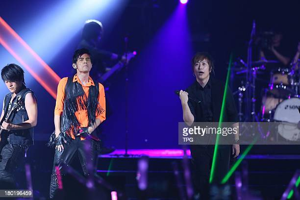 Singer Jay Chou holds concert on SundaySeptember 82013 in TaipeiChinaPop group May Day perform together with Jay as mystery guest singers