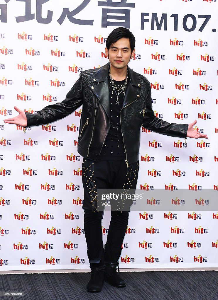 Singer <a gi-track='captionPersonalityLinkClicked' href=/galleries/search?phrase=Jay+Chou&family=editorial&specificpeople=697028 ng-click='$event.stopPropagation()'>Jay Chou</a> promotes his new album 'Aiyo, Not Bad' at Hit FM on December 22, 2014 in Taipei, Taiwan of China.