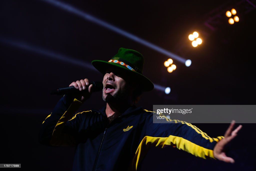 Singer <a gi-track='captionPersonalityLinkClicked' href=/galleries/search?phrase=Jay+Kay&family=editorial&specificpeople=202140 ng-click='$event.stopPropagation()'>Jay Kay</a> of Jamiroquai performs on the stage in concert at Shanghai Grand Stage on August 6, 2013 in Shanghai, China.