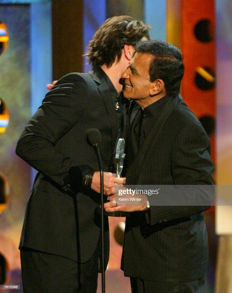 Singer JC Chasez (L) and Singer Casey Kasem onstage at The 2003 Radio Music Awards at the Aladdin Casino Resort October 27, 2003 in Las Vegas, Neveda.