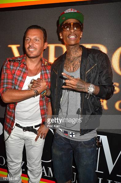Singer Jean Roch Pedri and Wiz Khalifa attend the Wiz Khalifa Party at VIP Room on August 9 2011 in Saint Tropez France