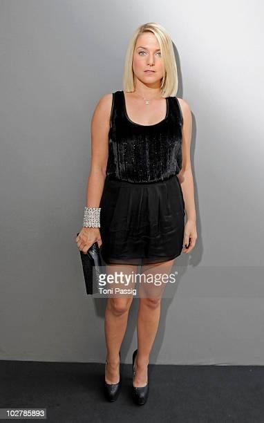 Singer Jeanette Biedermann attends the Klilan Kerner Show during the Mercedes Benz Fashion Week Spring/Summer 2011 at Bebelplatz on July 8 2010 in...