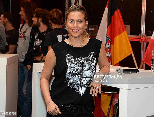 Singer Jeanette Biedermann poses on the Bundesvision Song Contest 2015 press conference at OVBArena on August 28 2015 in Bremen Germany