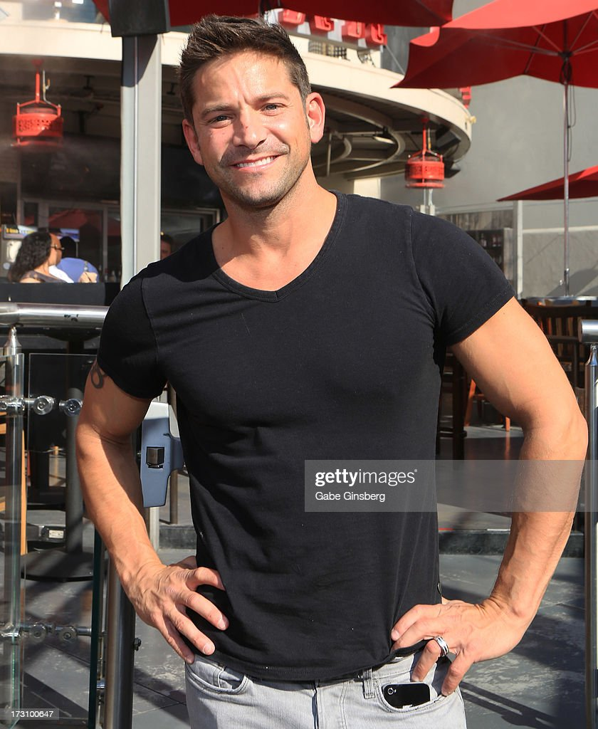 Singer Jeff Timmons of 98 Degrees is interviewed on the 'On Air With Robert & CC' podcast at the PBR Rock Bar & Grill inside the Miracle Mile Shops at Planet Hollywood Resort & Casino on July 6, 2013 in Las Vegas, Nevada.