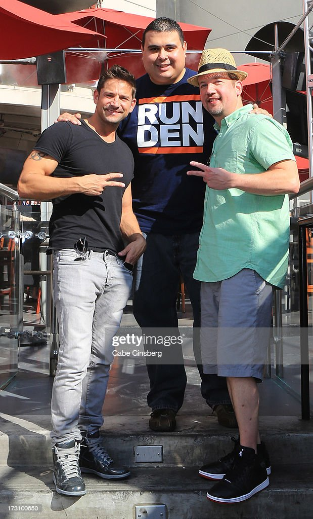 Singer <a gi-track='captionPersonalityLinkClicked' href=/galleries/search?phrase=Jeff+Timmons&family=editorial&specificpeople=994981 ng-click='$event.stopPropagation()'>Jeff Timmons</a> of 98 Degrees, podcast host Robert Blasi and singer <a gi-track='captionPersonalityLinkClicked' href=/galleries/search?phrase=Justin+Jeffre&family=editorial&specificpeople=994982 ng-click='$event.stopPropagation()'>Justin Jeffre</a> of 98 Degrees pose after recording the 'On Air With Robert & CC' podcast at the PBR Rock Bar & Grill inside the Miracle Mile Shops at Planet Hollywood Resort & Casino on July 6, 2013 in Las Vegas, Nevada.