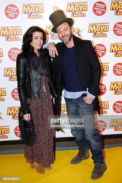 Singer Jenifer and singer Christophe Mae attend the 'Maya The Bee La Grande Aventure De Maya L'Abeille' Paris Premiere at UGC Cine Cite Bercy on...