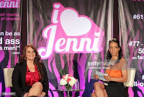 Singer Jenni Rivera and TV Personality Shaun Robinson speak during the 'I Love Jenni' lunch session during the NBC Universal portion of the 2011...