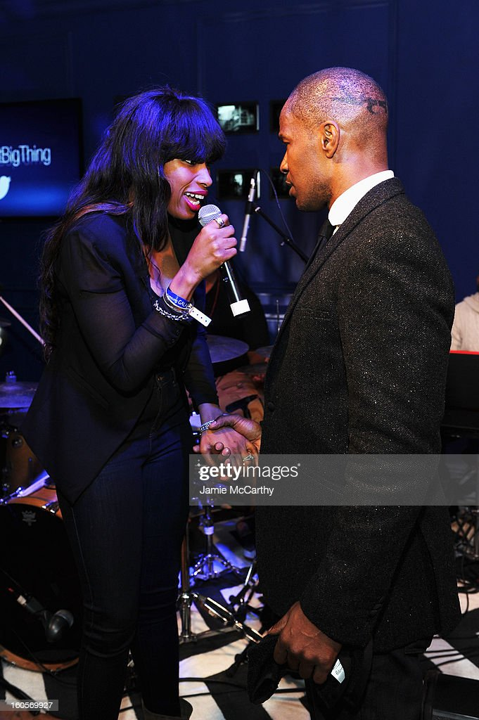 """Singer Jennifer Hudson (L) and Jamie Foxx perform at the Samsung Galaxy """"Shangri-La"""" Party in the Big Easy with the New Orleans Preservation Hall Jazz Band on February 2, 2013 in New Orleans, Louisiana."""