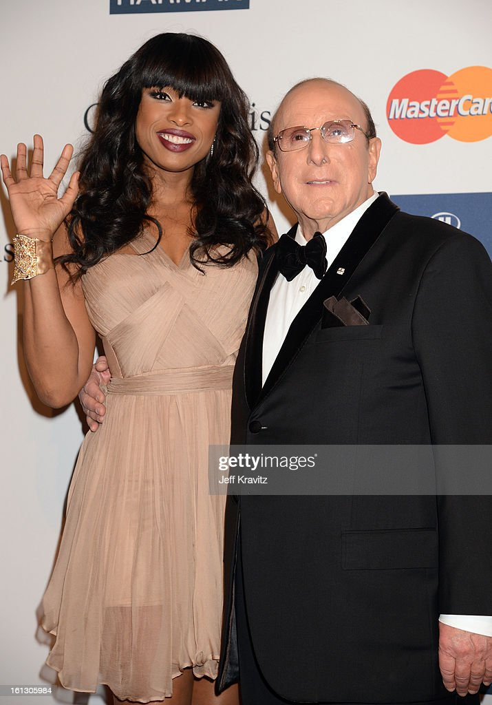 Singer Jennifer Hudson (L) and producer Clive Davis arrive at Clive Davis and The Recording Academy's 2013 GRAMMY Salute to Industry Icons Gala held at The Beverly Hilton Hotel on February 9, 2013 in Beverly Hills, California.