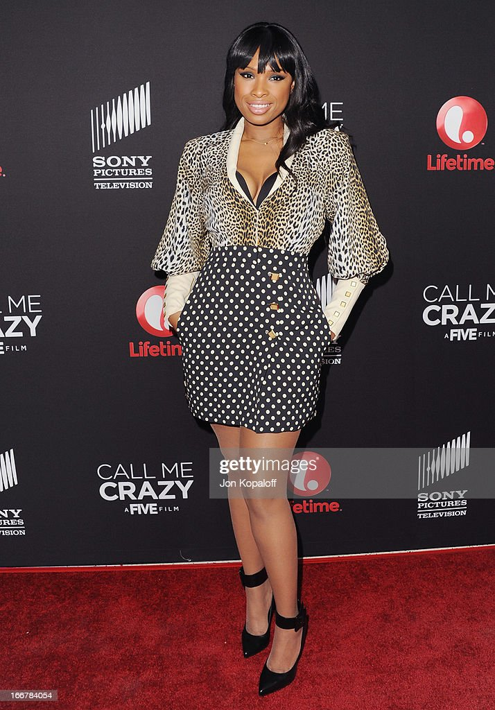 Singer <a gi-track='captionPersonalityLinkClicked' href=/galleries/search?phrase=Jennifer+Hudson&family=editorial&specificpeople=234833 ng-click='$event.stopPropagation()'>Jennifer Hudson</a> arrives at the Los Angeles Premiere 'Call Me Crazy: A Five Film' at Pacific Design Center on April 16, 2013 in West Hollywood, California.