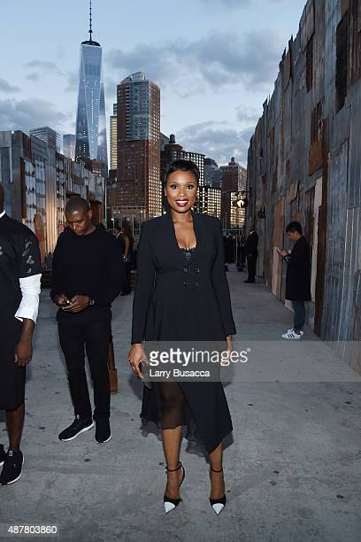 Singer Jennifer Hudson attends the Givenchy fashion show during Spring 2016 New York Fashion Week at Pier 26 at Hudson River Park on September 11...