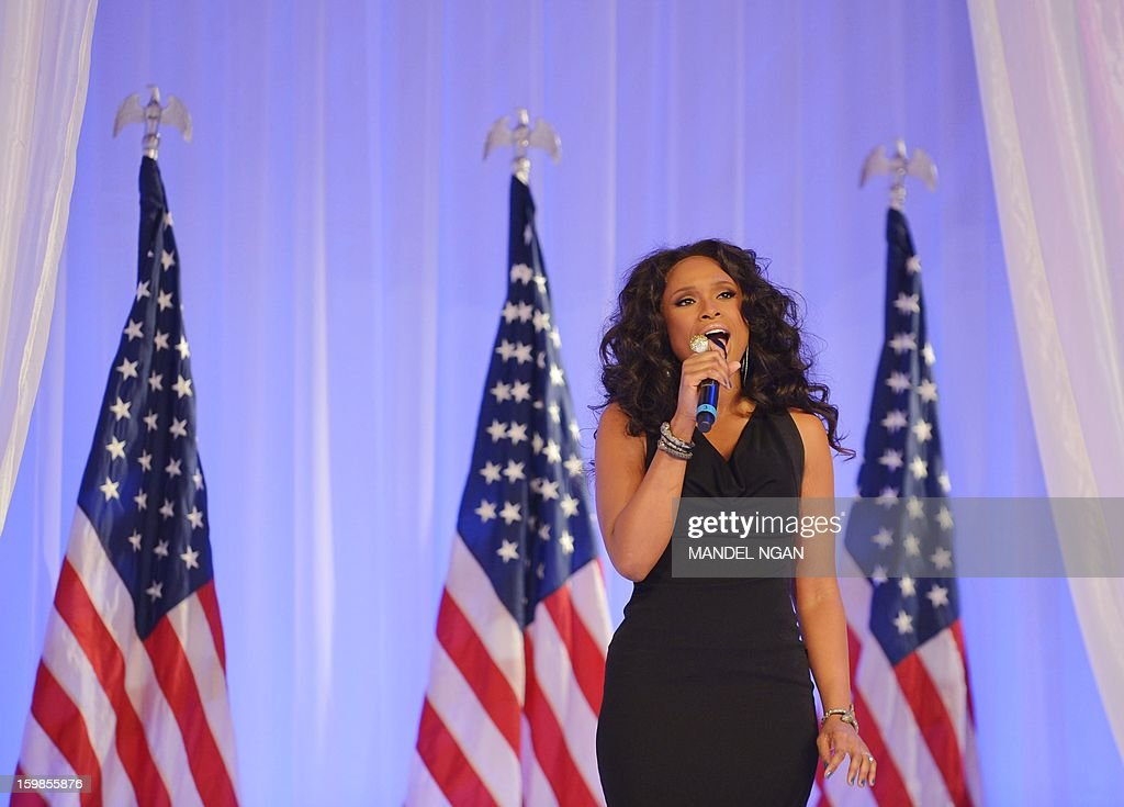Singer Jennifer Hudson performs for US President Barack Obama and First Lady Michelle Obama during the Inaugural Ball at the Walter E. Washington Convention Center on January 21, 2013 in Washington, DC.