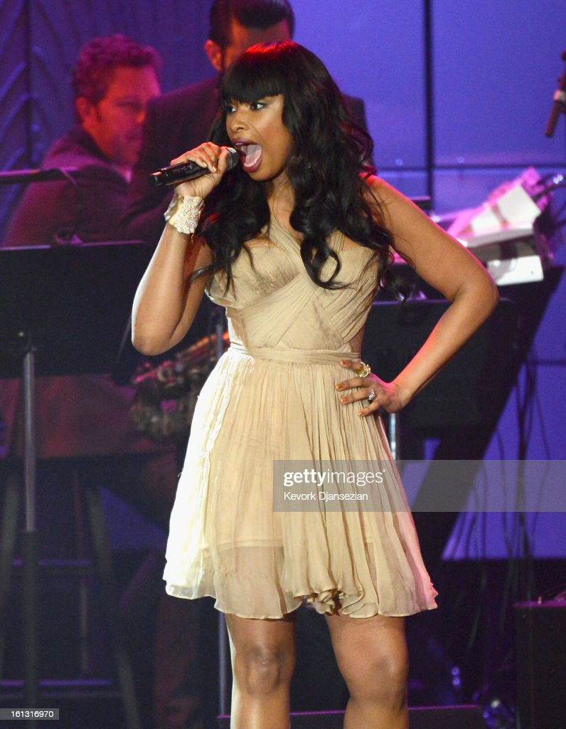 Singer <a gi-track='captionPersonalityLinkClicked' href=/galleries/search?phrase=Jennifer+Hudson&family=editorial&specificpeople=234833 ng-click='$event.stopPropagation()'>Jennifer Hudson</a> performs onstage at Clive Davis & The Recording Academy's 2013 Pre-GRAMMY Gala and Salute to Industry Icons honoring Antonio 'L.A.' Reid at The Beverly Hilton Hotel on February 9, 2013 in Beverly Hills, California.