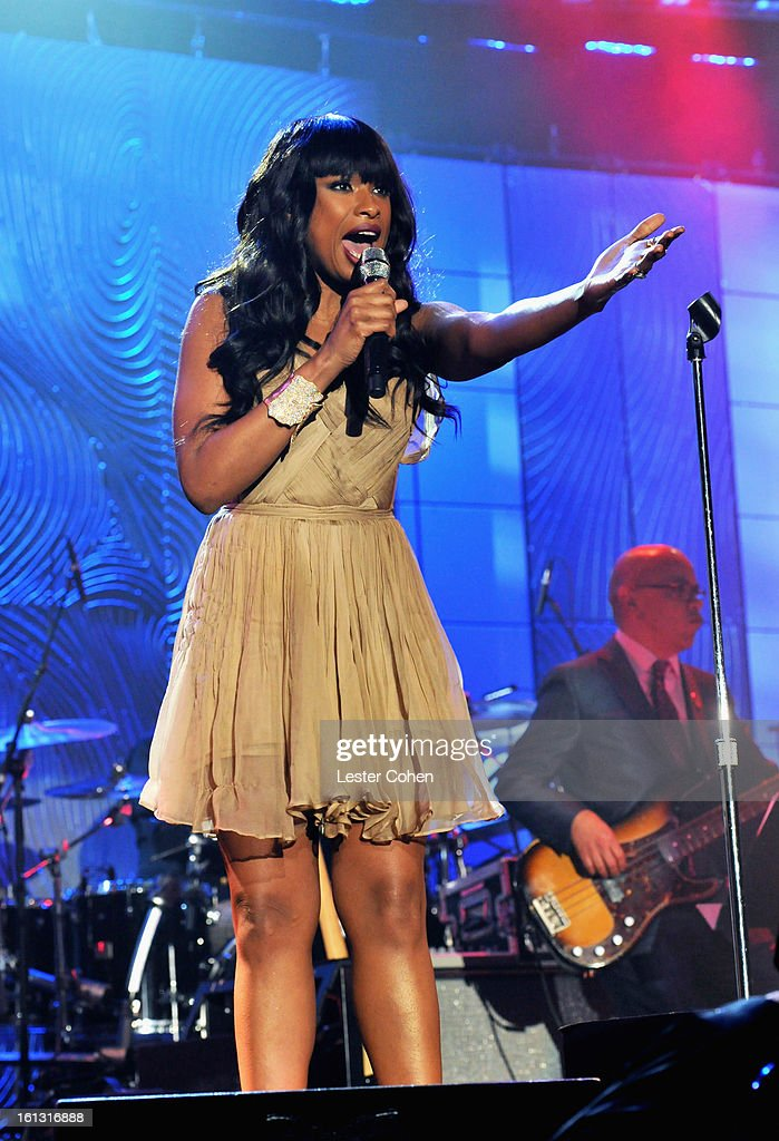 Singer <a gi-track='captionPersonalityLinkClicked' href=/galleries/search?phrase=Jennifer+Hudson&family=editorial&specificpeople=234833 ng-click='$event.stopPropagation()'>Jennifer Hudson</a> performs onstage at the 55th Annual GRAMMY Awards Pre-GRAMMY Gala and Salute to Industry Icons honoring L.A. Reid held at The Beverly Hilton on February 9, 2013 in Los Angeles, California.