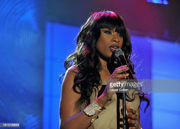 Singer Jennifer Hudson performs onstage at the 55th Annual GRAMMY Awards PreGRAMMY Gala and Salute to Industry Icons honoring LA Reid held at The...