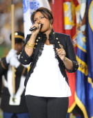 Singer Jennifer Hudson performs the national anthem during the pregame show prior to the start of Super Bowl XLIII between the Arizona Cardinals and...