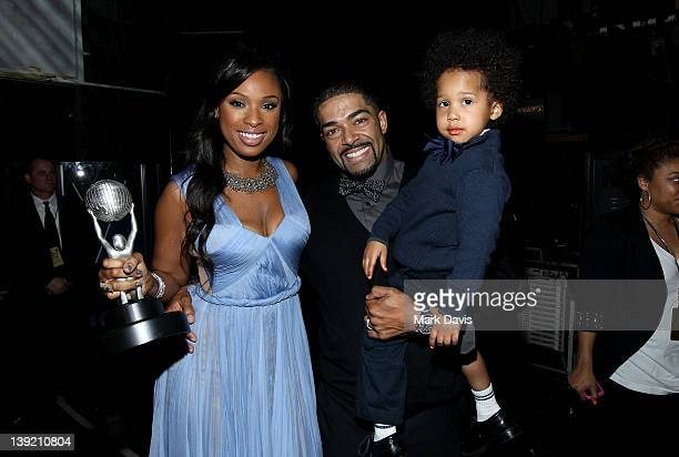 Singer Jennifer Hudson winner of the Outstanding Album award David Otunga and son David Daniel Otunga Jr attend the 43rd NAACP Image Awards held at...