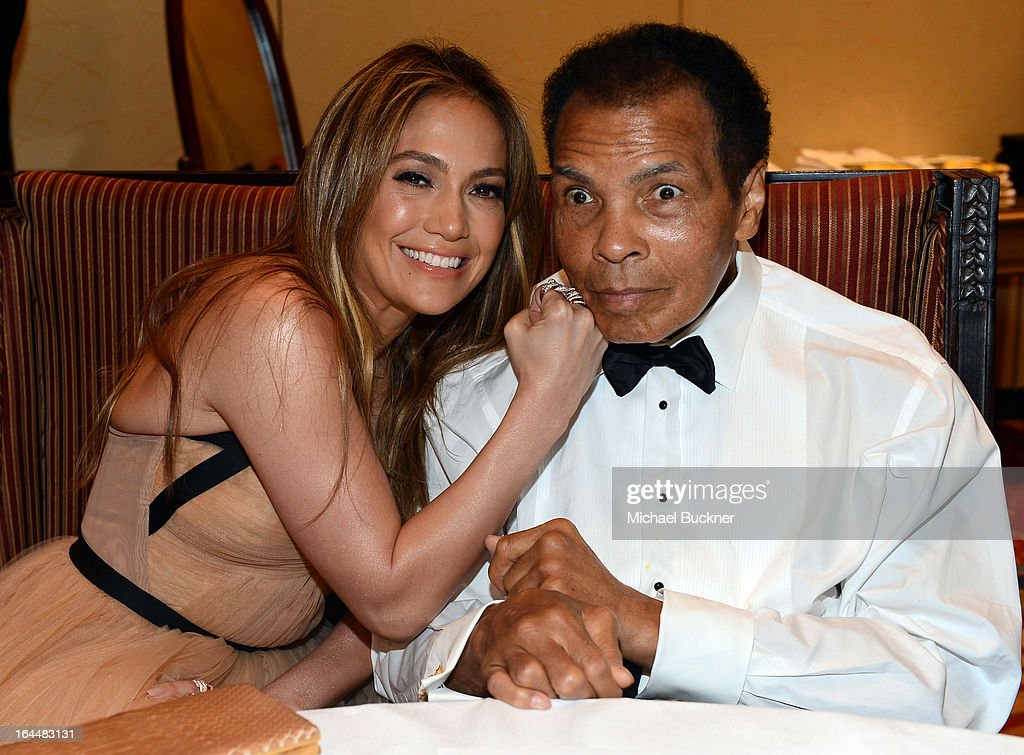 Singer <a gi-track='captionPersonalityLinkClicked' href=/galleries/search?phrase=Jennifer+Lopez&family=editorial&specificpeople=201784 ng-click='$event.stopPropagation()'>Jennifer Lopez</a> and boxer Muhammad Ali attends Muhammad Ali's Celebrity Fight Night XIX at JW Marriott Desert Ridge Resort & Spa on March 23, 2013 in Phoenix, Arizona.