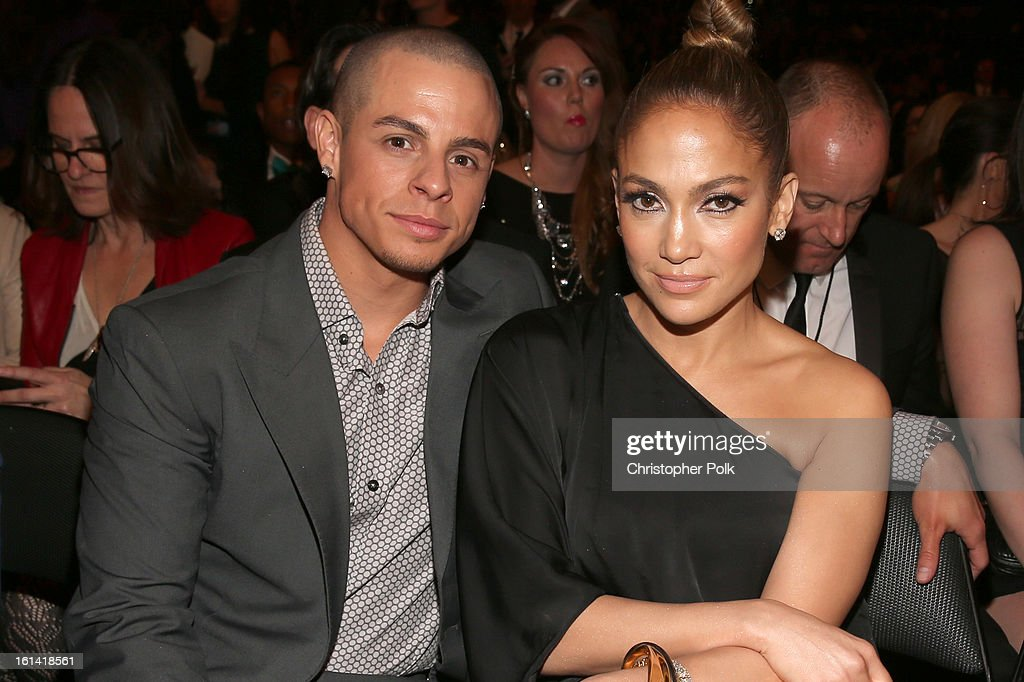 Singer Jennifer Lopez (R) and choreographer Casper Smart attend the 55th Annual GRAMMY Awards at STAPLES Center on February 10, 2013 in Los Angeles, California.
