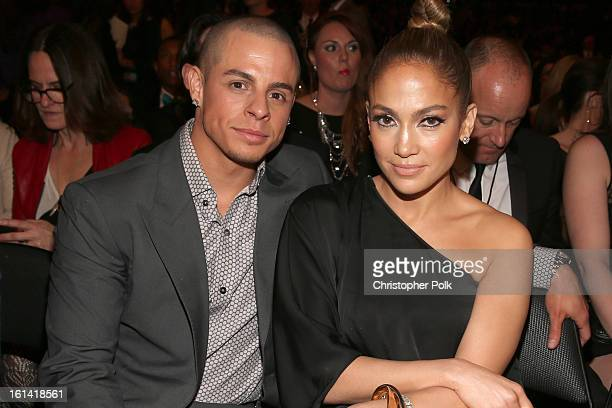 Singer Jennifer Lopez and choreographer Casper Smart attend the 55th Annual GRAMMY Awards at STAPLES Center on February 10 2013 in Los Angeles...