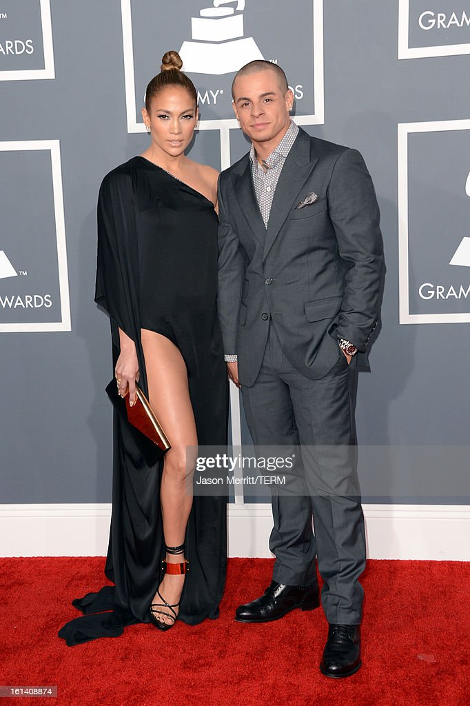 Singer Jennifer Lopez and dancer Casper Smart arrive at the 55th Annual GRAMMY Awards at Staples Center on February 10, 2013 in Los Angeles, California.