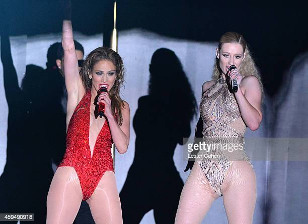Singer Jennifer Lopez and rapper Iggy Azalea perform onstage at the 2014 American Music Awards at Nokia Theatre LA Live on November 23 2014 in Los...