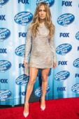 Singer Jennifer Lopez arrives at the American Idol XIII grand finale at Nokia Theatre LA Live on May 21 2014 in Los Angeles California