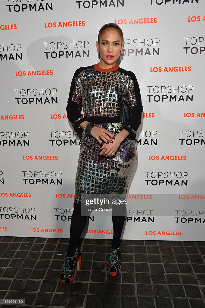 Singer Jennifer Lopez arrives at the Topshop Topman LA Opening Party at Cecconi's West Hollywood on February 13, 2013 in Los Angeles, California.