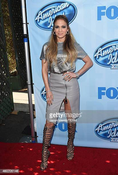 Singer Jennifer Lopez attends Fox's 'American Idol XIV' Red Carpet Event at CBS Television City on December 9 2014 in Los Angeles California