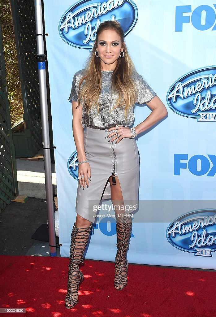 Singer Jennifer Lopez Fox's 'American Idol XIV' Red Carpet Event at CBS Television City on December 9 2014 in Los Angeles California