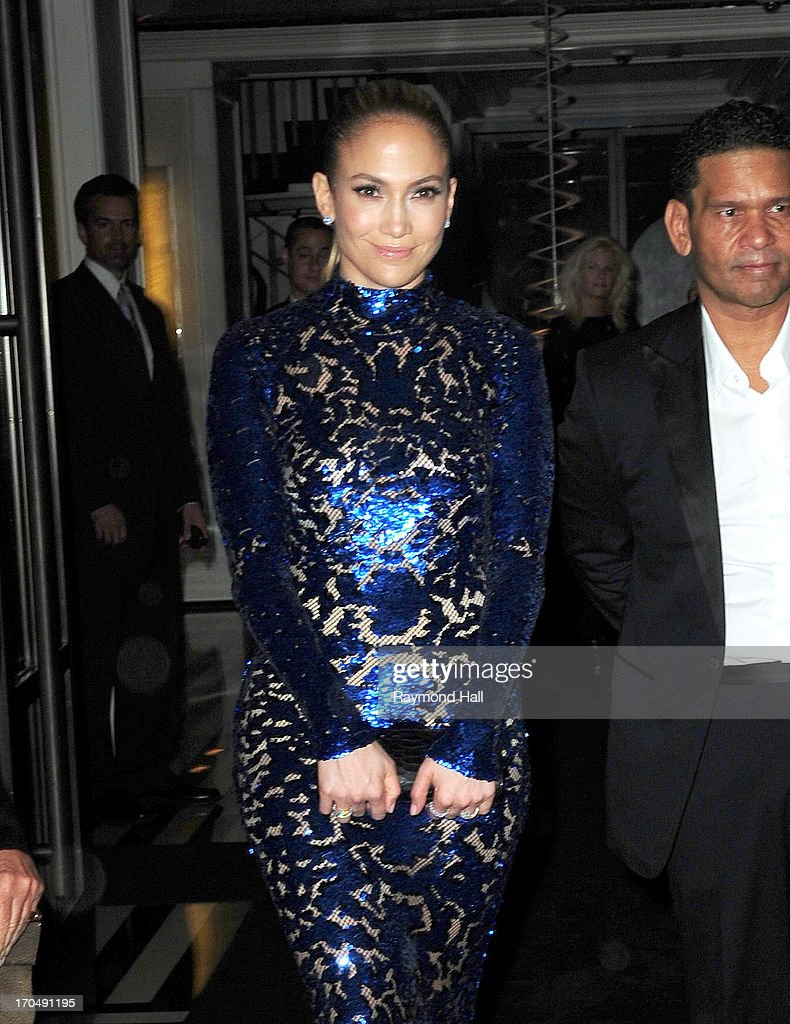 Singer Jennifer Lopez is seen outside Mark Hotel in a Blue Dress on June 13, 2013 in New York City.