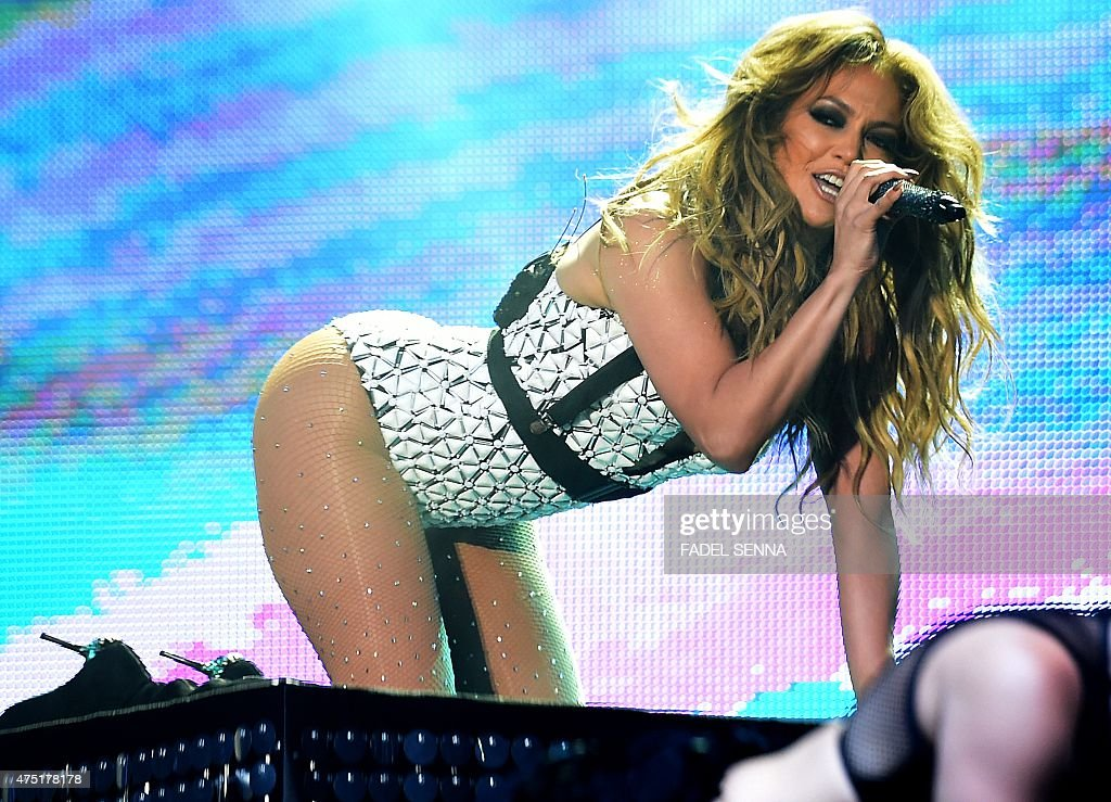 US singer Jennifer Lopez perfoms on stage during the 14th edition of the music festival Mawazine in Rabat on May 29 2015 AFP PHOTO/ FADEL SENNA