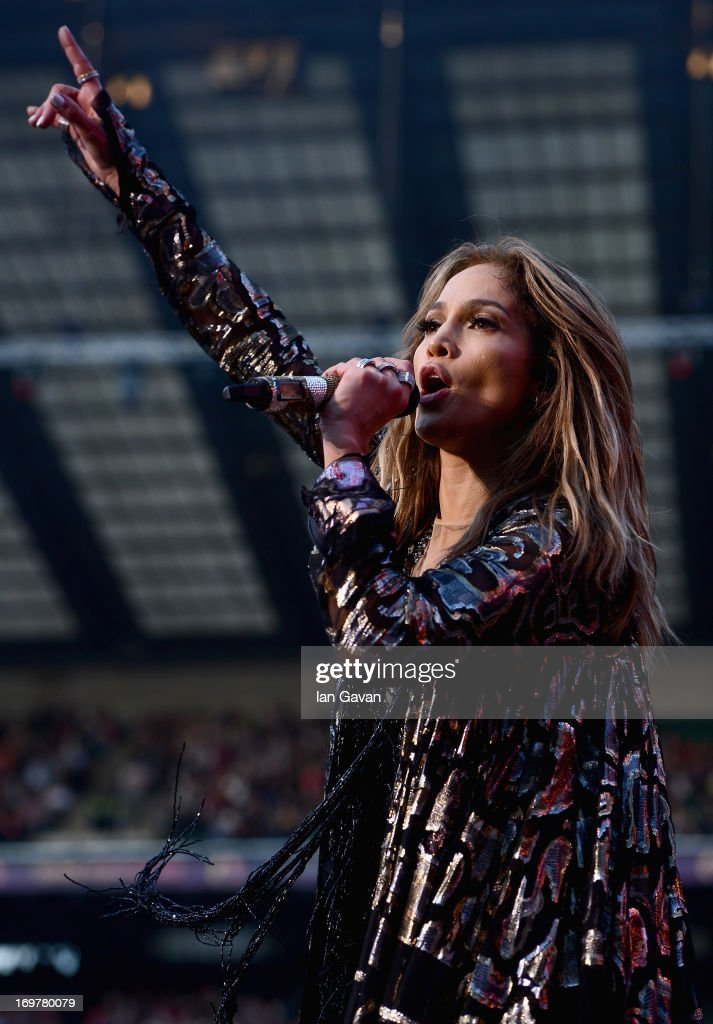 Singer <a gi-track='captionPersonalityLinkClicked' href=/galleries/search?phrase=Jennifer+Lopez&family=editorial&specificpeople=201784 ng-click='$event.stopPropagation()'>Jennifer Lopez</a> performs on stage at the 'Chime For Change: The Sound Of Change Live' Concert at Twickenham Stadium on June 1, 2013 in London, England. Chime For Change is a global campaign for girls' and women's empowerment founded by Gucci with a founding committee comprised of Gucci Creative Director Frida Giannini, Salma Hayek Pinault and Beyonce Knowles-Carter.