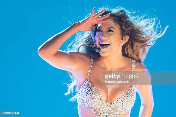 Singer Jennifer Lopez performs on stage at Unipol Arena on October 11 2012 in Bologna Italy