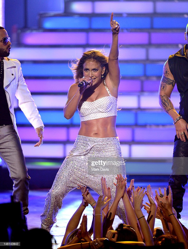 Singer Jennifer Lopez performs onstage during Fox's 'American Idol 2012' results show at Nokia Theatre LA Live on May 23 2012 in Los Angeles...